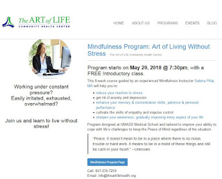 Mindfulness-Based Stress Reduction Program, Instructor, Sabina Pillai at The Art of Life Health Centre