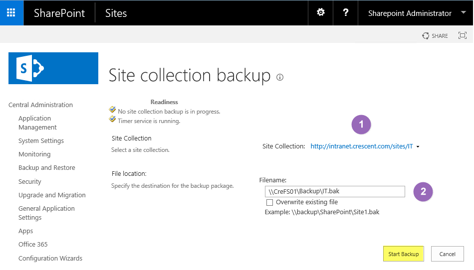 backup a site collection in sharepoint 2013