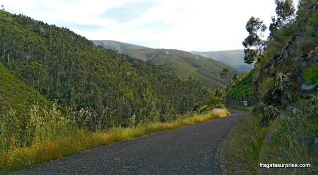 Estrada de acesso à aldeia de xisto de Piódão, na Serra do Açor, Portugal