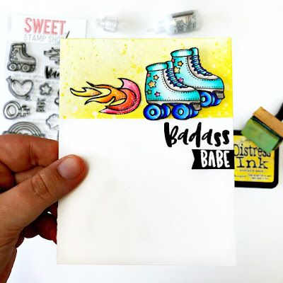 Roller Girl Card by Samantha Mann for Sweet Stamp Shop, handmade cards, roller skates, glitter, 80s, card, #sweetstampshop #rollerskates #cards #inkblending #distressinks