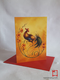 Front view of the Year of the Rooster card by Naomi Hoang