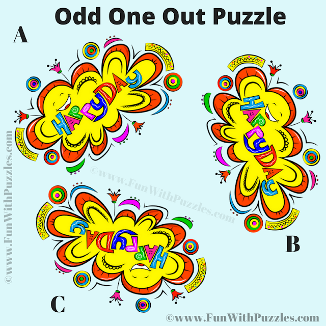 It is colorful picture riddle in which your challenge is fond the Odd One Out among the given three similar looking images.
