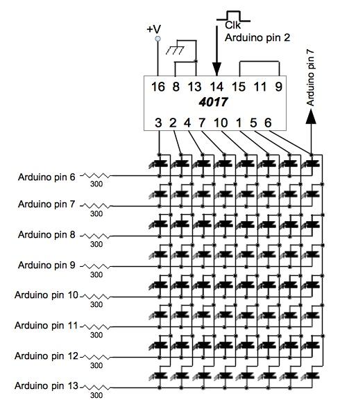 wiring arduino matrix led