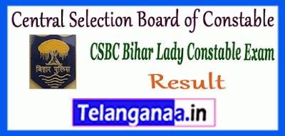 CSBC Bihar Central Selection Board of Constable Lady Constable Exam Result
