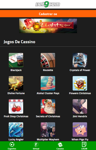 Bet9 Casino Games Screen
