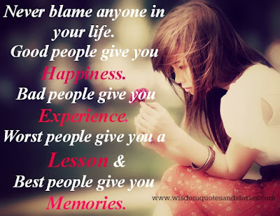 Quotes that bring happiness in your life: never blame anyone in your life.