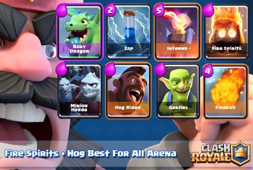 Strategi Deck Fire Spirits dan Hog Rider Arena 5 Keatas