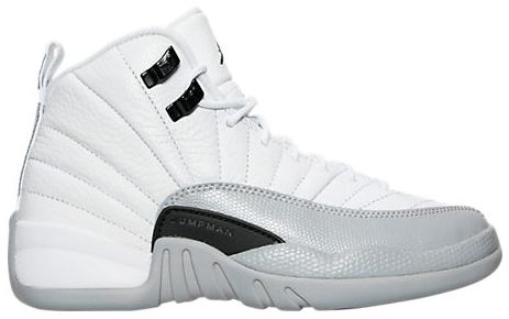 dc0e4e8fb67b95 Here is a look at the new Air Jordan Retro 12 Wolf Grey GS Sneaker  releasing at 10 am EST in extended sizes up to a 9.5 HERE at FNL   HERE at  Nike + ...