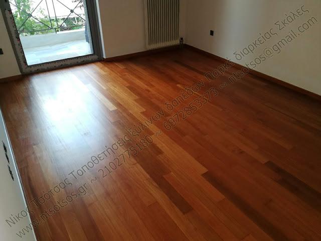 doussie (ντουσιέ) ξύλινο πάτωμα με ματ βερνίκι