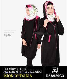 jaket muslimah panjang lutut pink