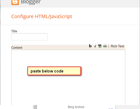 add html/javascript on blogger