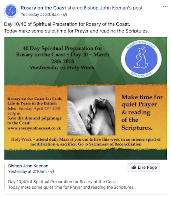 A screen shot taken from the Rosary on the Coast's Facebook page of Bishop Keenan's daily spiritual preparation post.