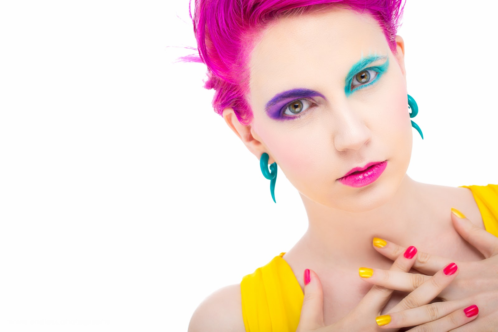 Logan Utah Photographer, Fashion, Beauty, Color, Avante Garde, Concept, Pink, Yellow, Blue, Makeup