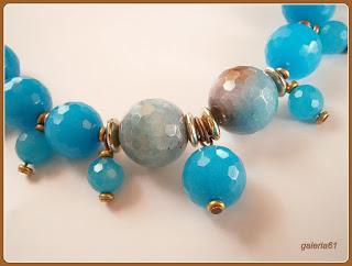 naszyjnik z agatów, niebieski