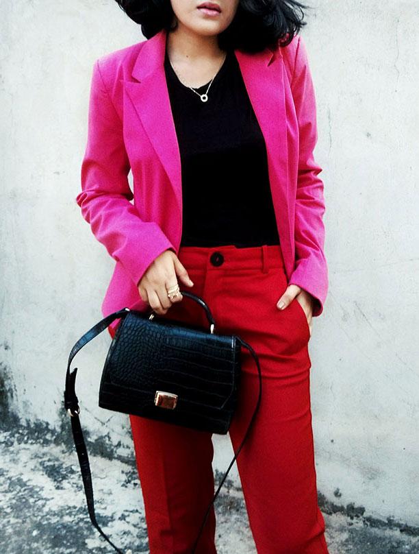 Zarablacktop,Mango Red trousers,Only pink blazer,Zarablackcitybag,Mango Boots,indianstyleblog