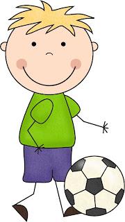 dibujo en color niños con balón de fútbol