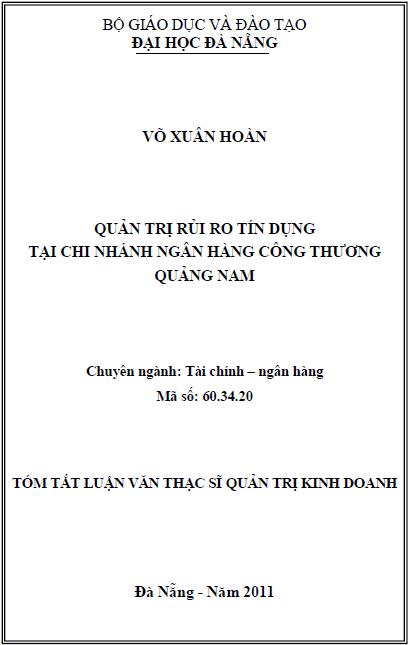Quản trị rủi ro tín dụng tại chi nhánh ngân hàng công thương Quảng Nam