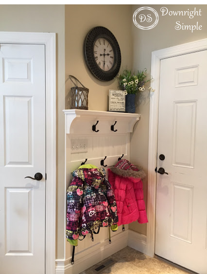 DIY coat hook wall inspiration for a mudroom makeover