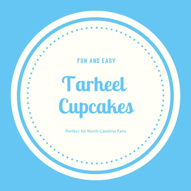 """North Carolina is certainly a foodie state, but we have some great college basketball teams, too which give my home state a national presence.  This recipe for """"Tarheel"""" cupcakes is perfect for Carolina fans for March Madness gatherings. #desserts #cupcakes #entertaining"""