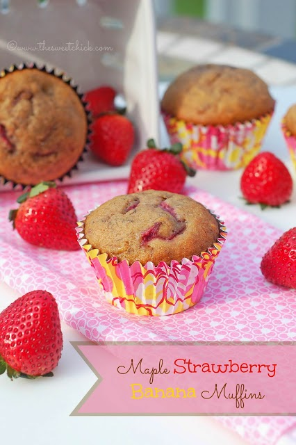 Maple Strawberry Banana Muffins by The Sweet Chick
