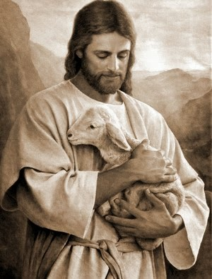 Jesus carrying a lamb in His arms