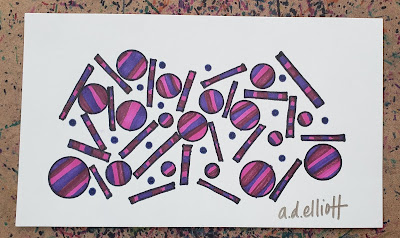 A pen and ink doodle meditation in purples and a blurb about negativity in the news.