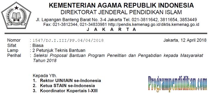 Juknis Bantuan Program Penelitian Kemenag Tahun 2018