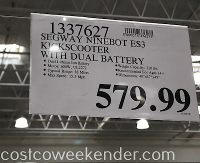 Costco 1337627 - Deal for the Segway Ninebot ES3 Kickscooter at Costco