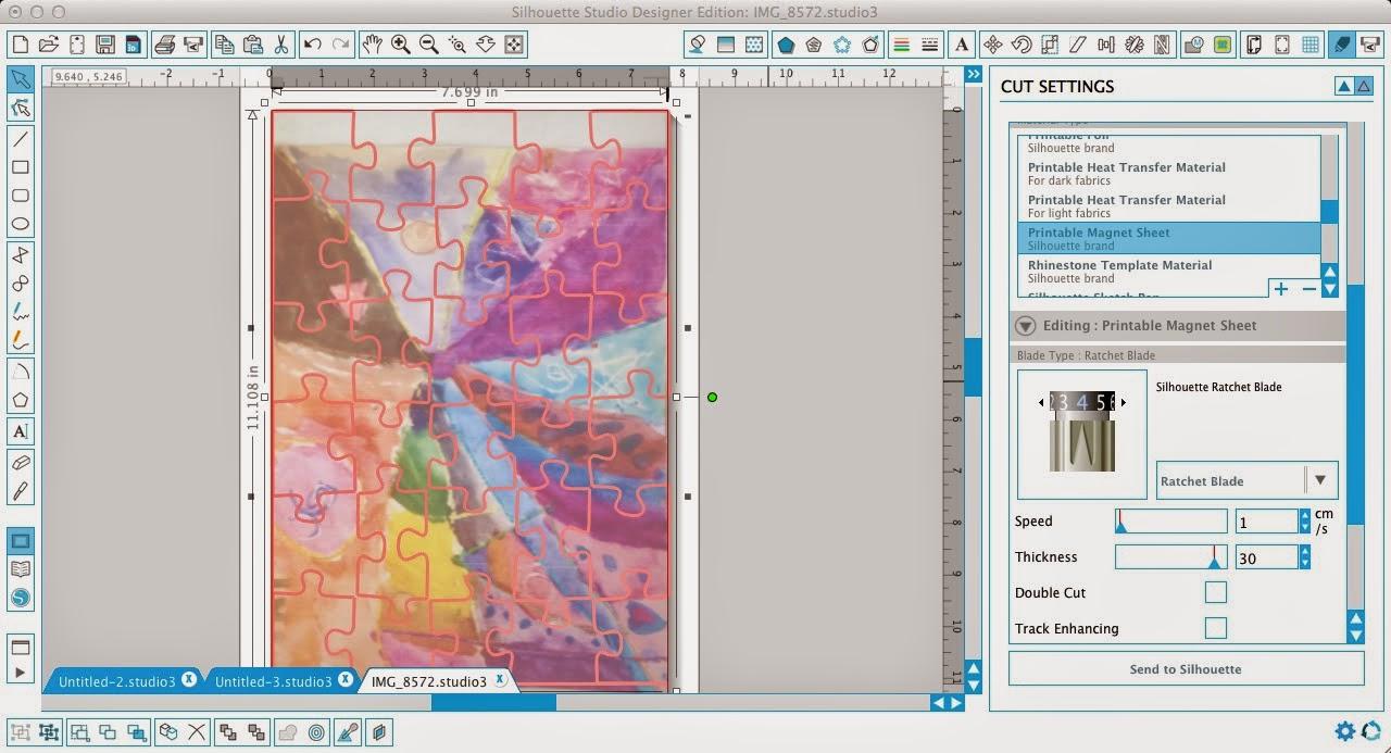Silhouette tutorial, custom puzzle magnet, DIY, do it yourself, Silhouette Studio, overlay
