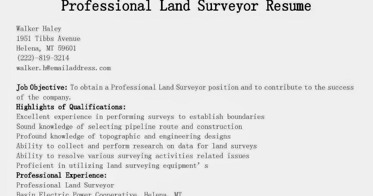 Resume Samples Professional Land Surveyor Resume Sample