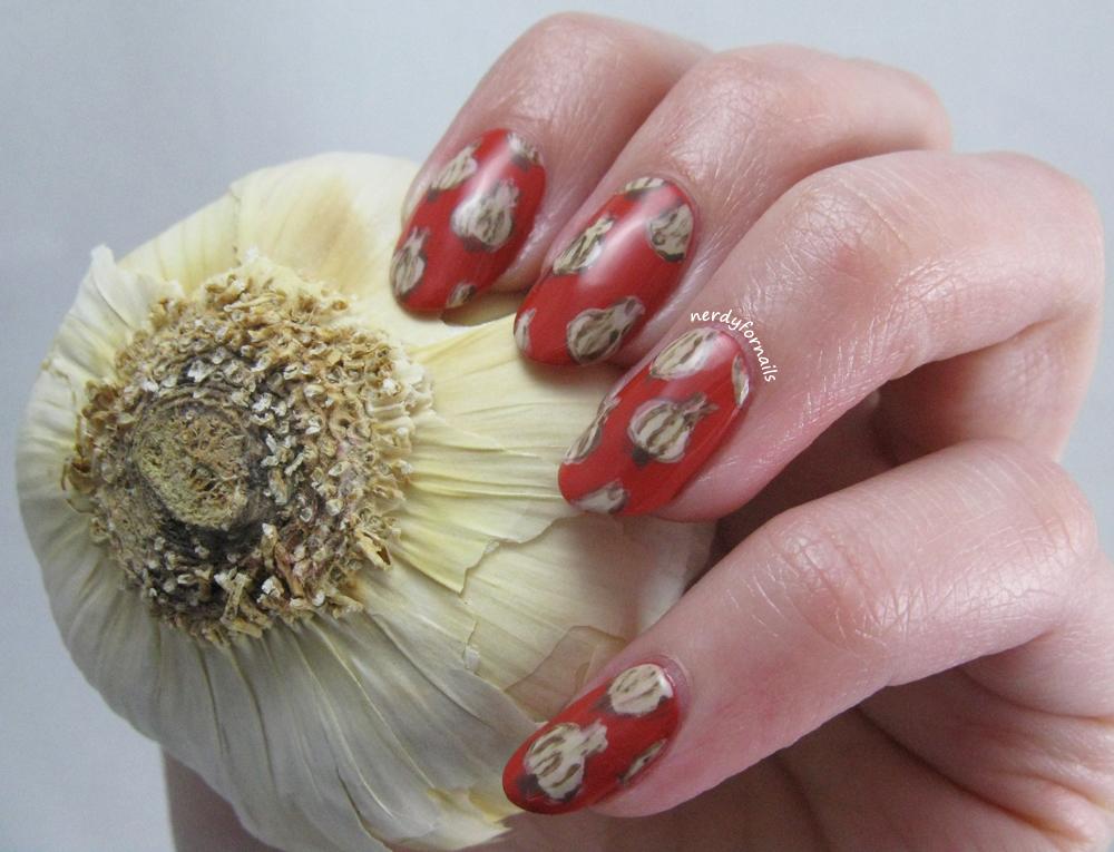 Nerdy for Nails: April 19- National Garlic Day- Garlic Nails