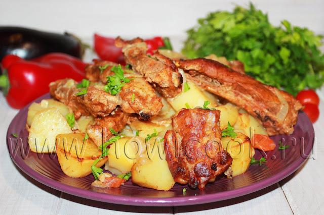 рецепт свиных ребрышек с картофелем в рукаве