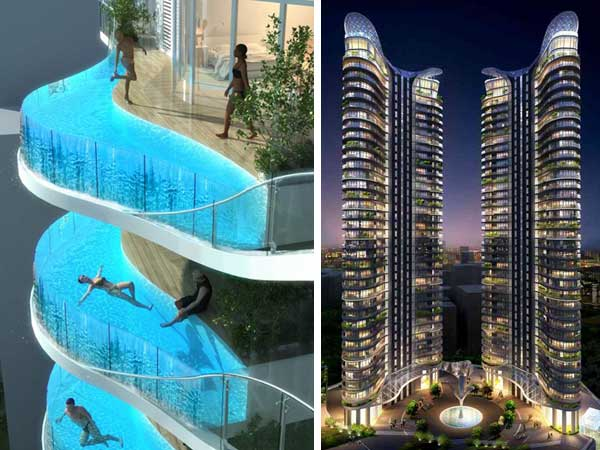 Architectural Technology Bay New Design Idea Complex With Swimming Pool Balconies