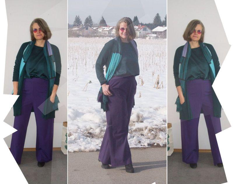 Dunkelgrünes Blusenshirt plus Langstrickjacke zur lila Marlenehose kombiniert