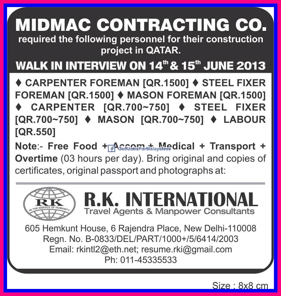 urgently required  midmac contracting company qatar gulf jobs  malayalees