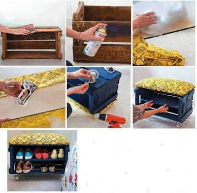 Paso a paso : Zapatera y banqueta con cajón de madera reciclado