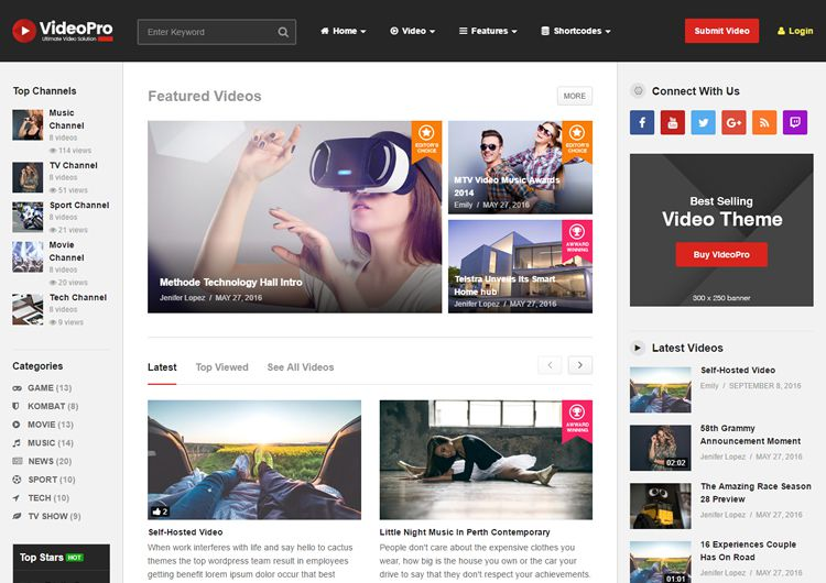 VideoPro - Video WordPress Theme Free Download - Share Theme