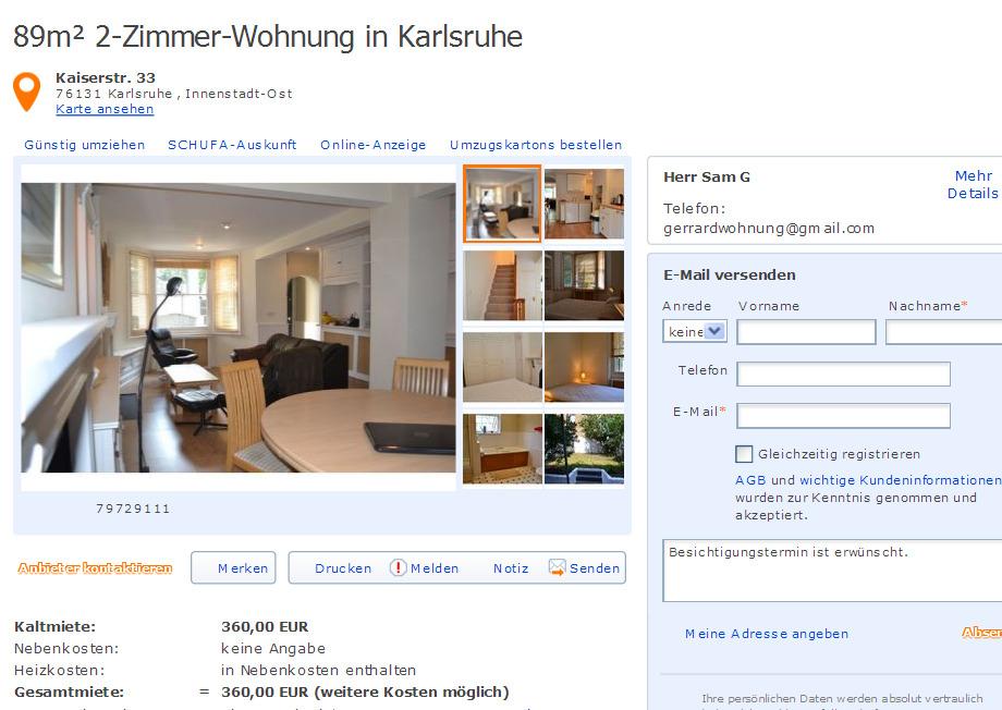 alias herr gerrard sam telefon gerrardwohnung vorkassebetrug fraud scam. Black Bedroom Furniture Sets. Home Design Ideas