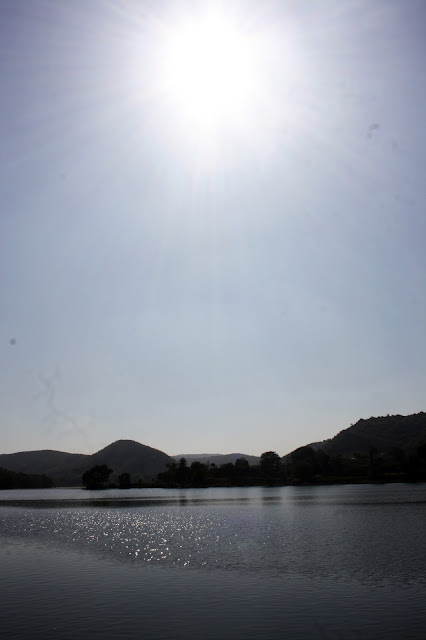 Silhouette, Rajasthan, lake, sun, shining water, reflection, view
