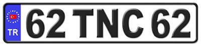 Tunceli il isminin kısaltma harflerinden oluşan 62 TNC 62 kodlu Tunceli plaka örneği
