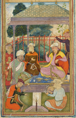 Persian illustration from the Medieval Persia depicting people dining