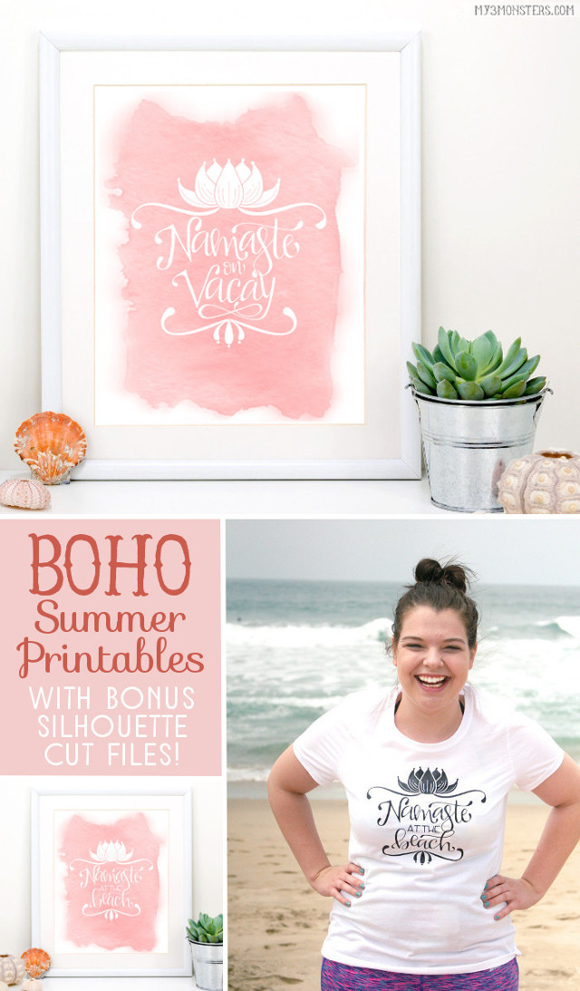 Boho Summer printables by my3monsters.com for Lolly Jane for all you lovers of yoga humor out there!