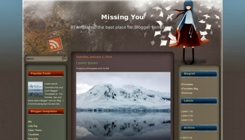 missing you blogger template,love template,free blogger template,blogger free template,grey template