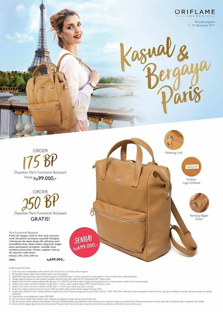 Tas Ransel Oriflame - GRATIS. WA 081388396003. Paris Function Back Pack