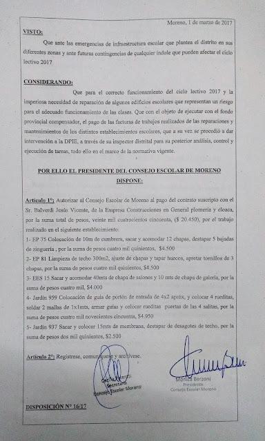 Disposición N° 16/17: Autorización de pago a la empresa Construcciones en General plomería y cloacas por trabajos realizados en EP75, EP81, EES15, Jardin 959 (JI959) y Jardin 937 (JI937).