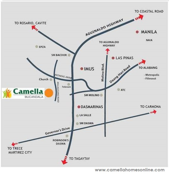 Vicinity Map Location Drina - Camella Bucandala | Crown Asia Prime House for Sale Imus Cavite
