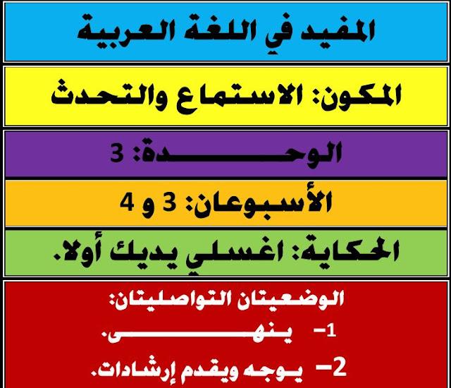 جذاذات  الاسبوعان.3و 4 الوحدة الثالثة  المفيد في اللغة العربية القسم الأول ابتدائي