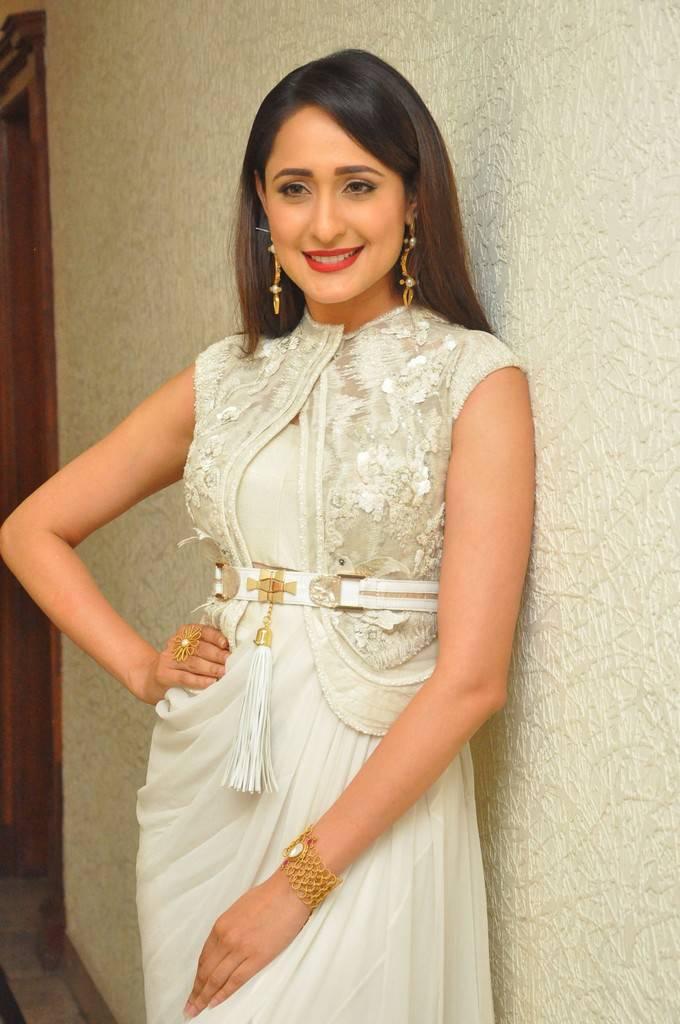 Actress Pragya Jaiswal At Audio Launch In White Dress