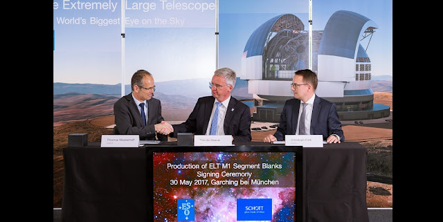 The contracts to manufacture and polish the ELT primary mirror segments were signed on 30 May 2017 by ESO's Director General, Tim de Zeeuw, and senior representatives of SCHOTT and Safran Reosc, a subsidiary of Safran Electronics & Defense, in the presence of key ESO staff members.  In this picture the first contract is being signed with SCHOTT. Tim de Zeeuw, ESO's Director General, appears in the centre, with Thomas Westerhoff, Director Strategic Marketing Zerodur for SCHOTT, to the left and Christoph Fark, Executive Vice President Advanced Optics of SCHOTT on the right.  Credit: ESO/M. Zamani