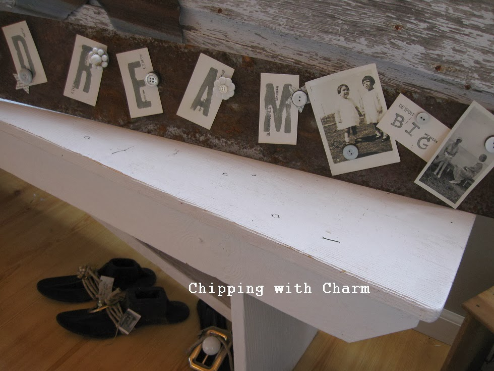 Chipping with Charm:  Old Tool Photo/Memo Holder...http://www.chippingwithcharm.blogspot.com/